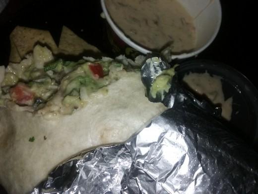 burrito from Qdoba Grill restaurant