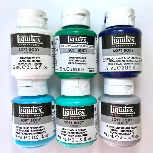 Liquitex Soft Body Acrylics work well for the pouring technique.