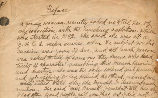 Page one of the original manuscript of Crusade for Justice: Autobiography of Ida B. Wells.