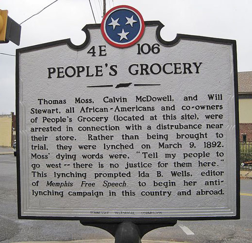People's Grocery Historical Marker.  The original building has been demolished.