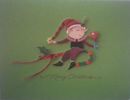3-D holiday card sample: Sticker combined with rubber-stamped message