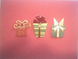 3-D holiday card sample: Multiple stickers form a unified design