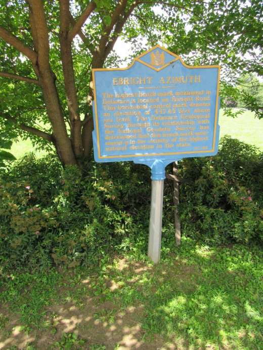 Ebright Azimuth Monument marker - the high ground of Delaware.