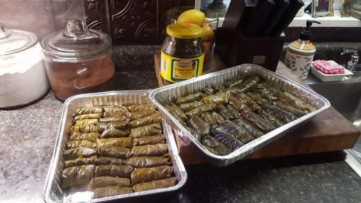 Stuffed grape leaves are delilcious. If you have never had them, please try them and try to find someone or a restaurant where they are made with meat.