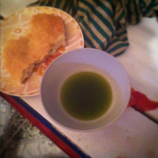 When olive oil is newly pressed, the oil is a beautiful green hue.  The flavor is slightly spicy and has a nice kick to it.  One of the best places to get olive oil is in Kelaa des Sraghna, a town outside of Marrakesh.
