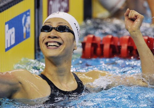 Backstroke swimmer Aya Terakawa reacts with emotion after winning the silver medal in the Women's 50 meter backstroke at the Swimming World championships in Shanghai in 2011.