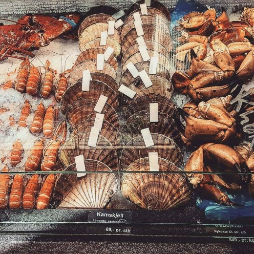 Just some of the offerings at a local fish market in Bergen.