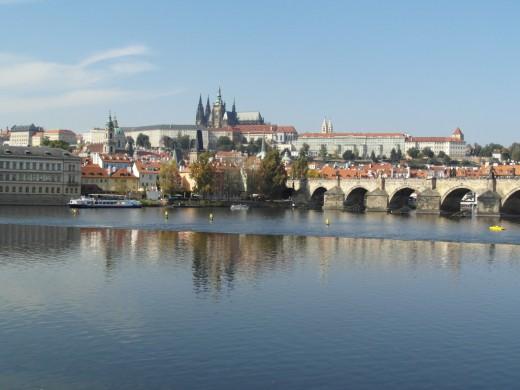 The view from Nove Mesto across the Vltava to Mala Strana and Prague Castle.