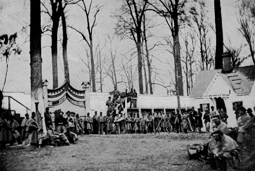 Troops pose for a photograph at Camp Morton, a camp of instruction in Indiana