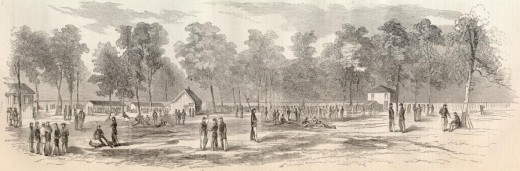 A woodcut engraving of Camp Morton, Indiana. That open field is most likely the Parade Ground.