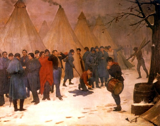 Painting of troops gathering for Roll Call