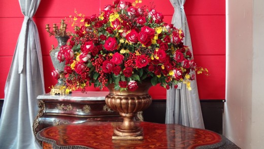 Flower arrangements offer warmth, beauty, and  loving care in home decorating.