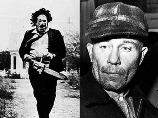 Serial killer Ed Gein (right) and Leatherface from The Texas Chainsaw Massacre.