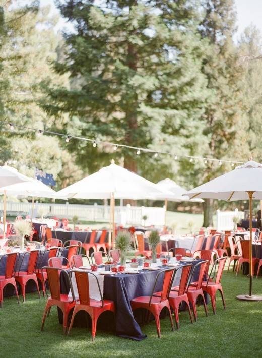 Use runners, and table cloths that compliment your theme. If your chairs are white, use red and blue on your tables. No matter the color of the chairs at your reception, you can always use chair covers if neccesary