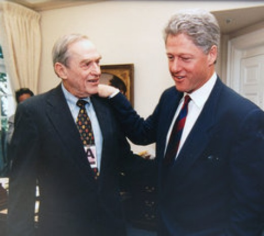Bernard Rapoport with Bill Clinton