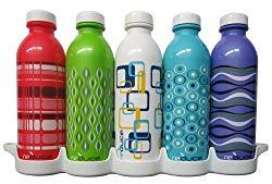 Reduce WaterWeek Reusable Water Bottle Set with Fridge Tray Organizer, 16oz - 5 Pack Spectrum II (Assorted Colors)