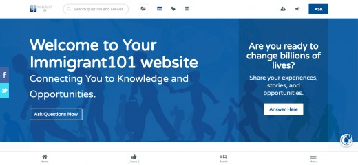 Immigrant 101 homepage. Really clean look and design, and community feel to the site.