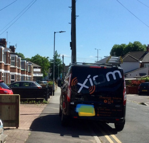 On double yellow lines half on the pavement. When challenged shoulders were shrugged