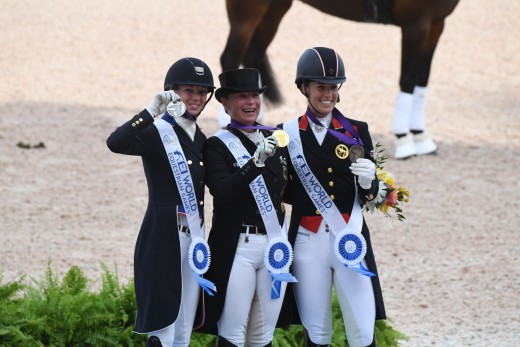 (l-r) Silver Medalist Laura Graves, Gold Medalist Isabel Werth and Bronze Medalist Charlotte Bredahl.at the FEI World Equestrian Games Tryon 2018.