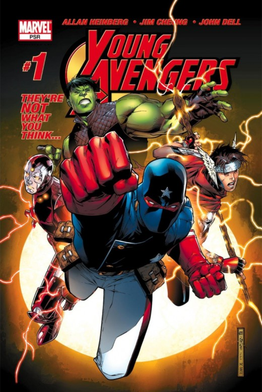 Cover to Young Avengers #1 - Debut of Hulkling, Asgardian, Patriot, Iron Lad, and Kate Bishop.