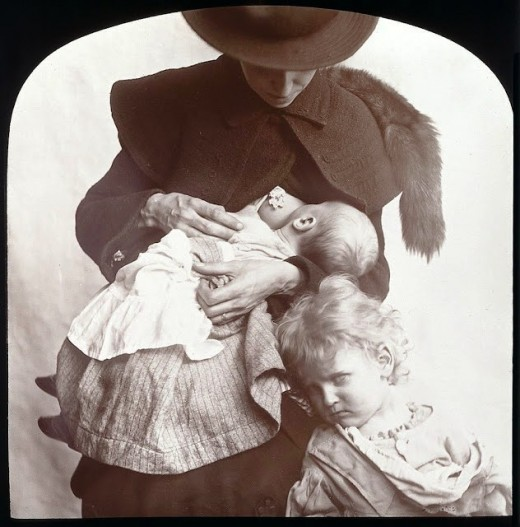 This photo is a sweet example of what motherhood can be, in spite of exhaustion and layers of inconvenient clothing.  See other pictures of Victorian mothers nursing their babes.