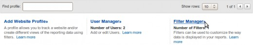 Find the Filter Manager link below your Website Profiles list on the Analytics Settings home page.