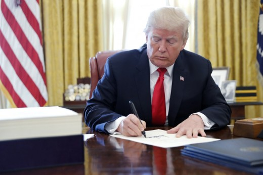 President Donald Trump signing the Tax Cuts and Jobs Act into law on December 22, 2017