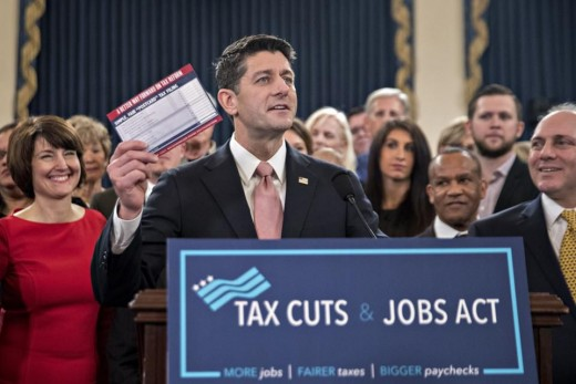 House Speaker Paul D. Ryan (R-WI) with other Congressional Republicans speaking at a news conference on the Tax Cuts and Jobs Act prior to the act's passage