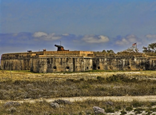 Exterior of Fort Pickens, a fort with five walls (pentagonal).