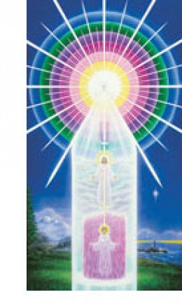The Mighty I AM Presence is God, the ringed spheres of Light at the top. The Holy Christ Self is the mediator between the I AM Presence and the individual. The lower figure is the individual in time and space.