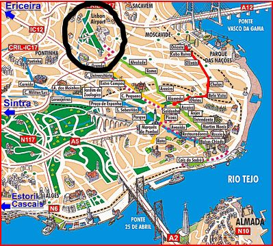 Lisbon airport circled.