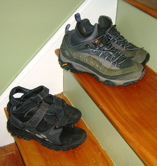 My walking footwear, shoes are one year old, sandals about three months. Bob Ewing photo