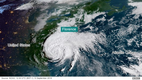 Hurricane Florence at landfall. She was the most destructive hurricane to hit the Carolinas in history and produced record rainfall in both states, with 36 inches in North Carolina and 24 inches in South Carolina