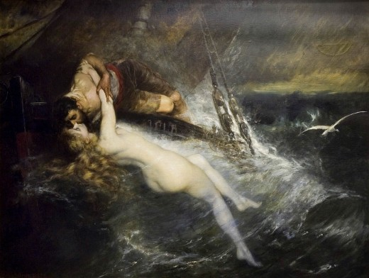 Pictured: The Kiss of the Siren (1882) by Gustav Wertheimer