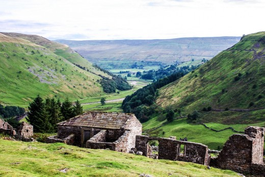 The view from above Crackpot Hall over the remains of its roof to the River Swale below - the weather can change suddenly, so if you're on a walk take protective clothing and sturdy boots