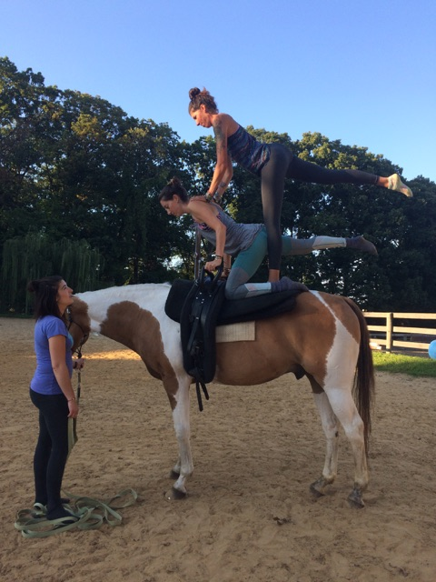 V is for victory, it is also for vaulting which is horseback gymnastics basically. This picture was a moment of victory in vaulting for my friend and I. Victory and terror!!