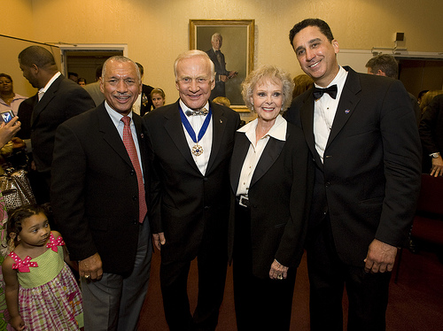 "NASA Admin. Charles F. Bolden, Jr.; Apollo 11 Astronaut Buzz Aldrin; Actress June Lockhart (""Lost In Space""); and National Symphony Orchestra Conductor Emil de Cou at ""Salute to Apollo"" at the Kennedy Center for the Performing Arts. NASA public domai"