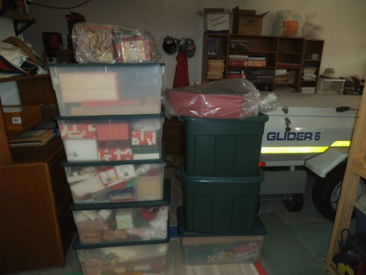 This year, I vow to give some of this away, so I won't have so much to store and so much work putting it all over the house.