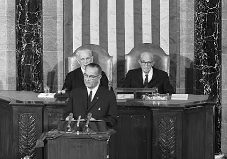 President Lyndon Johnson, JFK's successor, delivering his 1964 State of the Union address in which he pushed for the enactment of tax cuts