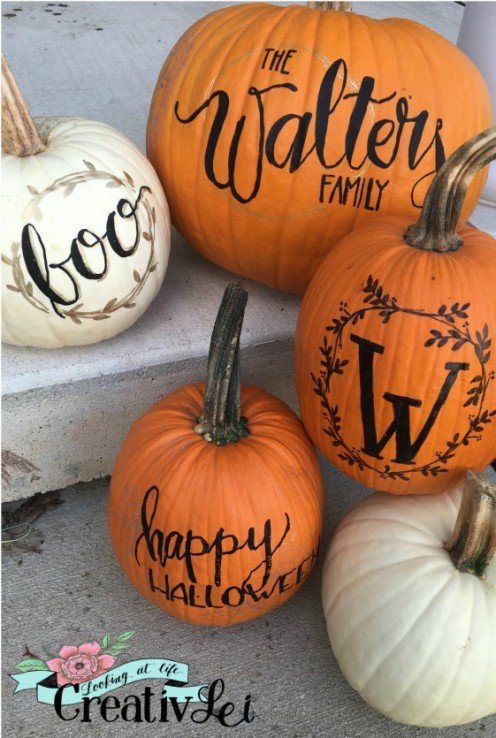 These lettered pumpkins create a whimsical holiday collection.
