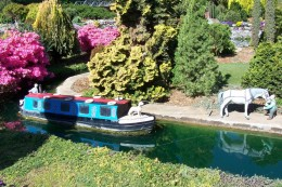 Miniature steamboat along the canal.