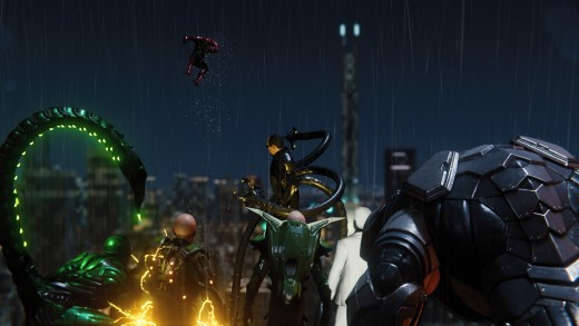 The initial gathering of The Sinister Six, after escaping The Raft maximum security facility and defeating Spider-Man.