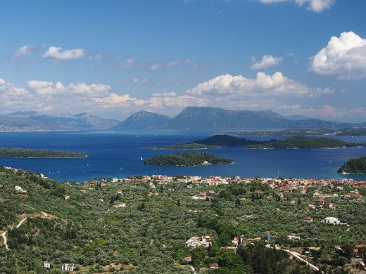 Looking from Lefkas to other Greek islands and mainland Greece