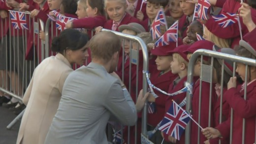 The Duke and Duchess get down on the level with children to talk to them