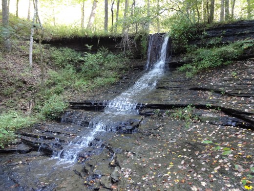 View of Fall Hollow Waterfall from near the bottom of the falls.
