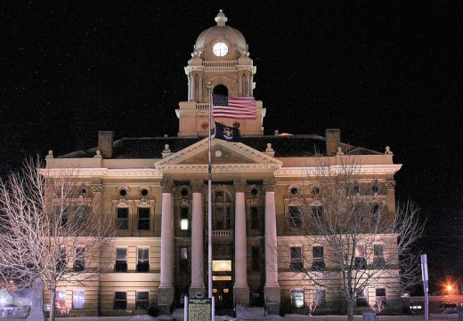Shiawassee County Courthouse on a quiet winter evening