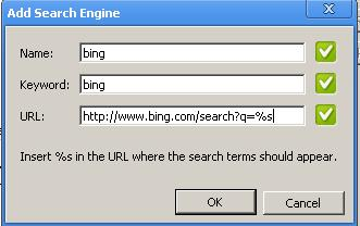"Type ""Bing"", ""bing"" and ""URL: http://www.bing.com/search?q=%s"" in the Name, keyword and URL text boxes."