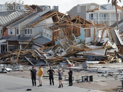 Hurricane Michael destroys Mexico Beach, Florida.