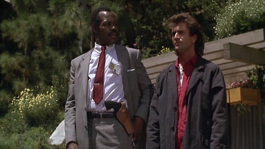 Danny Glover and Mel Gibson, before they got too old for this s***, in the 'Lethal Weapon' series.