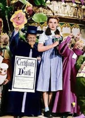 """Ding, Dong, the Wicked Witch is dead. From  """"The Wizard of Oz."""""""